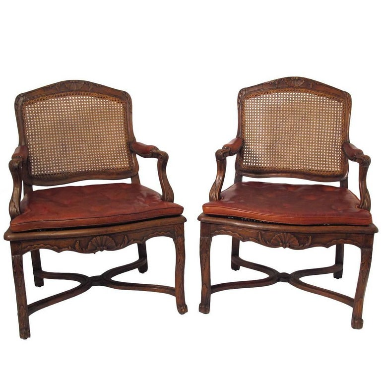 Pair of French Regence Walnut Fauteuils Armchairs