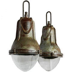 Pair of Industrial Pendant Lights Large French Glass Iron and Chains Midcentury