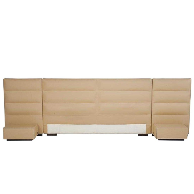 Fendi Casa Leather King 'or Queen' Size Headboard with Integrated Nightstands For Sale