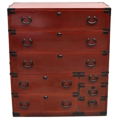 Meiji Japanese Tansu Chest, Eight-Drawer with Black Iron Hardware and Key