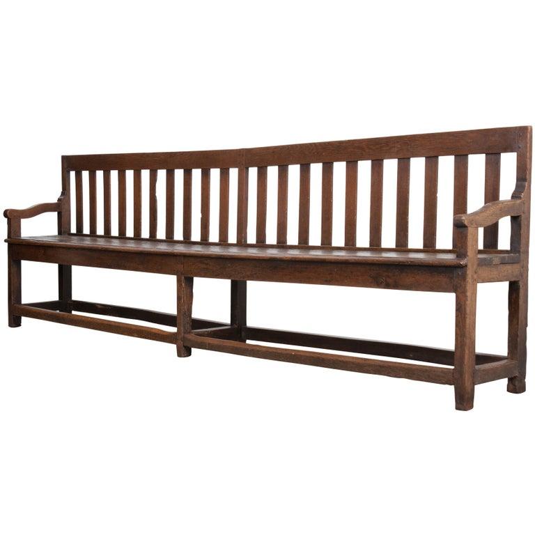 French 19th Century Long Oak Bench