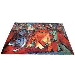 """After Picasso """"The Run of the Bulls"""" -- Rug or Wall Hanging"""