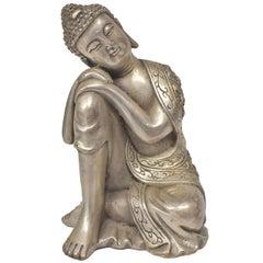 Silvered Brass Buddha Statue, a Thinking Buddha
