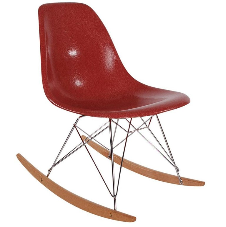 Mid-Century Modern Rocking Chair by Charles Eames for Herman Miller in Red