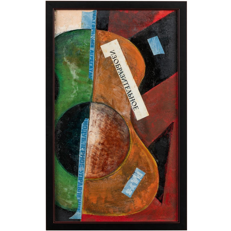 Russian Suprematist Style Gouche and Paper on Board For Sale