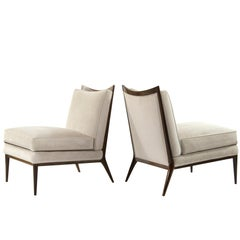 Wanut Frame Slipper Chairs by Paul McCobb for Directional