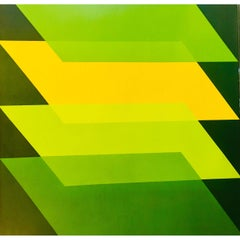 Florence Arnold Modern Geometric Green on Green Original Acrylic Painting