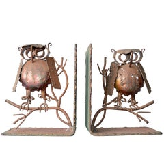 Curtis Jere Copper Owl Bookends, a Pair