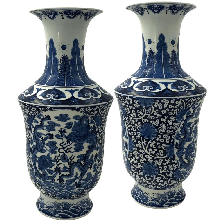 Pair Of Chinese Export Blue And White Tall Vases For