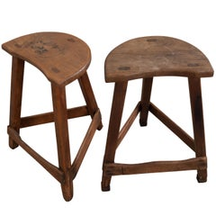 Pair of 19th Century English Elm and Pine Low Stools