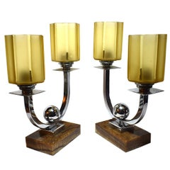 Matching Pair of Art Deco French Table Lamps