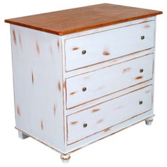 1940s Italian Midcentury Three Drawers Farm Commode in Walnut, White Painted