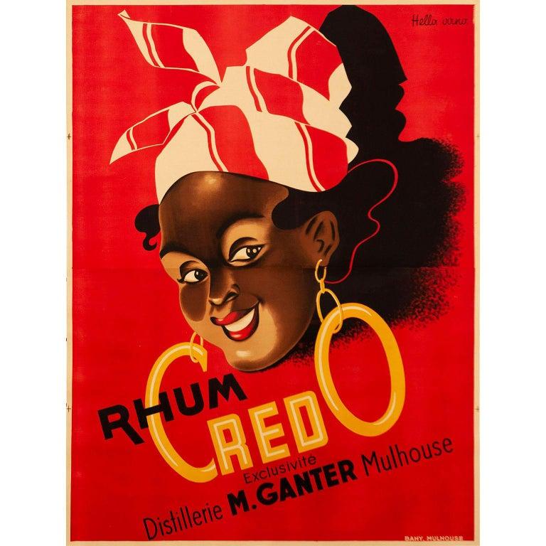 Vintage 1930s Credo Rhum Poster by Hella Arno