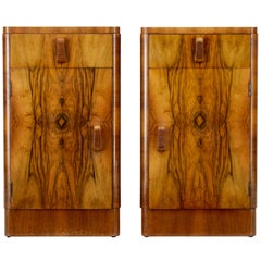 Pair of 1920s Art Deco Walnut Bedside Cupboards