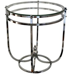 1930s, Modernistic Side Table in Chromed Metal, French Art Deco