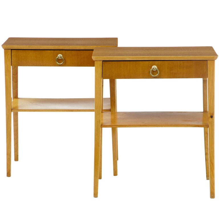 Pair of 1960s Birch Bedside Side Tables