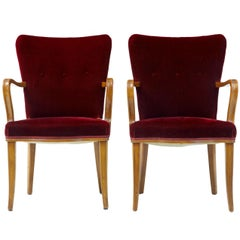 Pair of 1950s Birch and Red Velvet Armchairs