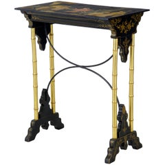 Late 19th Century Oriental Black Lacquer and Gilt Work Table