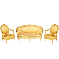 Louis XVI Style Gilded French Salon Suite, 19th Century