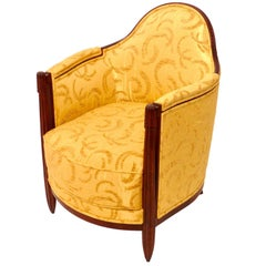 1920s French Art Deco Club Chairs, Yellow, Fresh Upholstery
