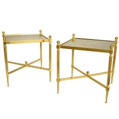 Pair of Louis XVI Style Gilt Brass Side Tables, circa 1970