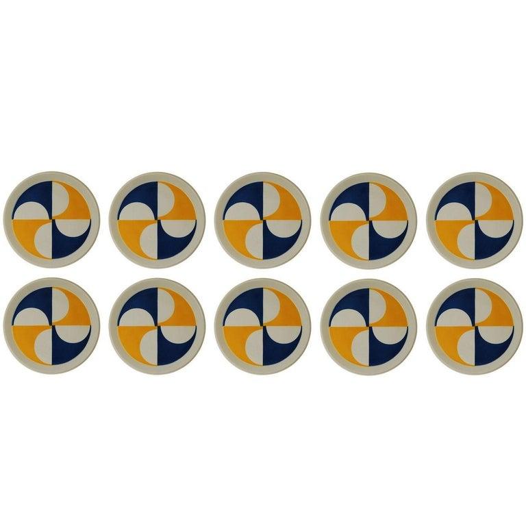 Rare Set of Ten Gio Ponti for Ceramica Franco Pozzi Plates For Sale