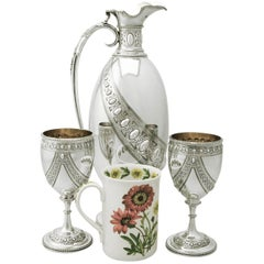 Sterling Silver Claret Jug and Matching Goblets by Barnard & Sons Ltd
