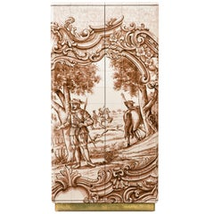 Heritage Sepia Cabinet with Hand-Painted Tile Detail by Boca do Lobo