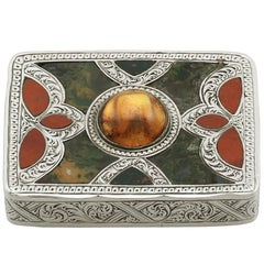 1850s Antique Scottish Sterling Silver Agate and Citrine Vesta Box