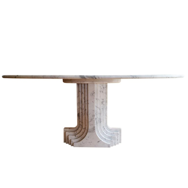 "1970 White Marble ""Samo"" Table by Carlo Scarpa for Simon"