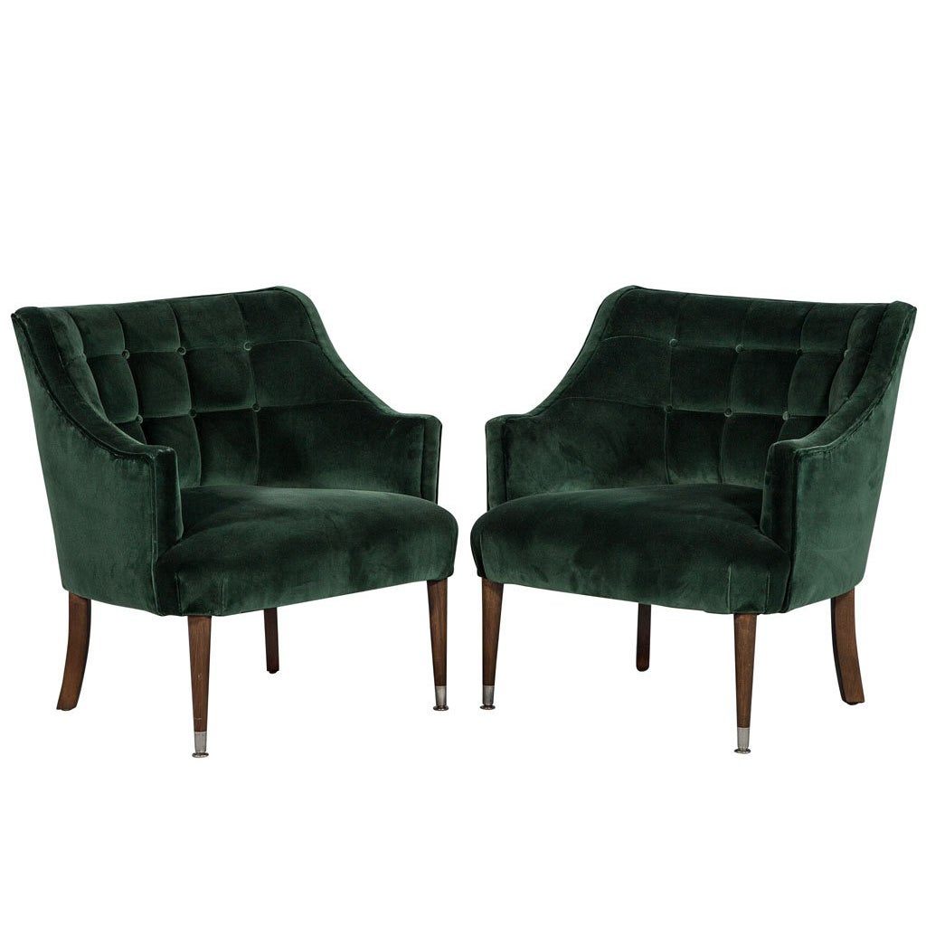Pair of Restored Midcentury Tufted Lounge Chairs