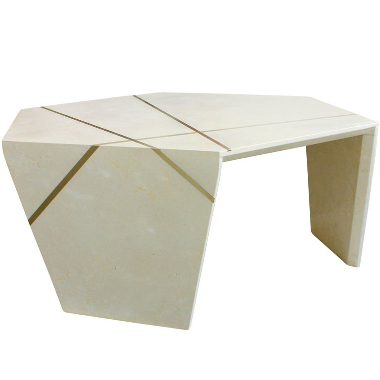 Planar Sculptural Cocktail in Crema Marfil Marble For Sale