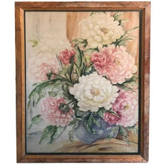 Lushly Painted Still Life of Peonies in a Bowl, Signed M. E. Fager 'American'