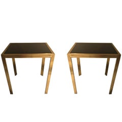 Pair of Deco Brass and Black Glass Side Tables, France, circa 1935
