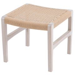 Giacomo Stool / Ottoman in Whitewashed Oak with Danish Cord