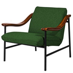Henry Russell Green Lounge Chair Stainless Steel Frame Walnut Armrests