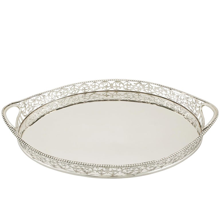 Edwardian English Sterling Silver Galleried Drinks Tray 1901
