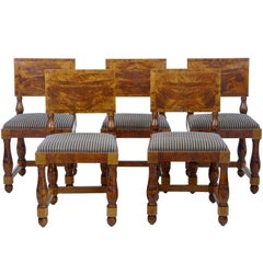 Set of Five Art Deco Period Pine Dining Chairs