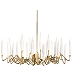 """Il Pezzo 3 Round Chandelier"" in Gold Plated Structure, Large Size"