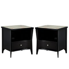 Pair of Mid-Century Modern Marble-Top Nightstands End Tables