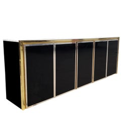 Black Glass, Brass and Chrome Credenza Maison Jansen Style