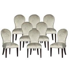 Set of Eight Carrocel Custom Modern Spoon Back Dining Chairs