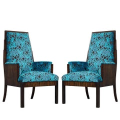 Pair of Vintage Art Deco Makassar Ebony Parlor Armchairs