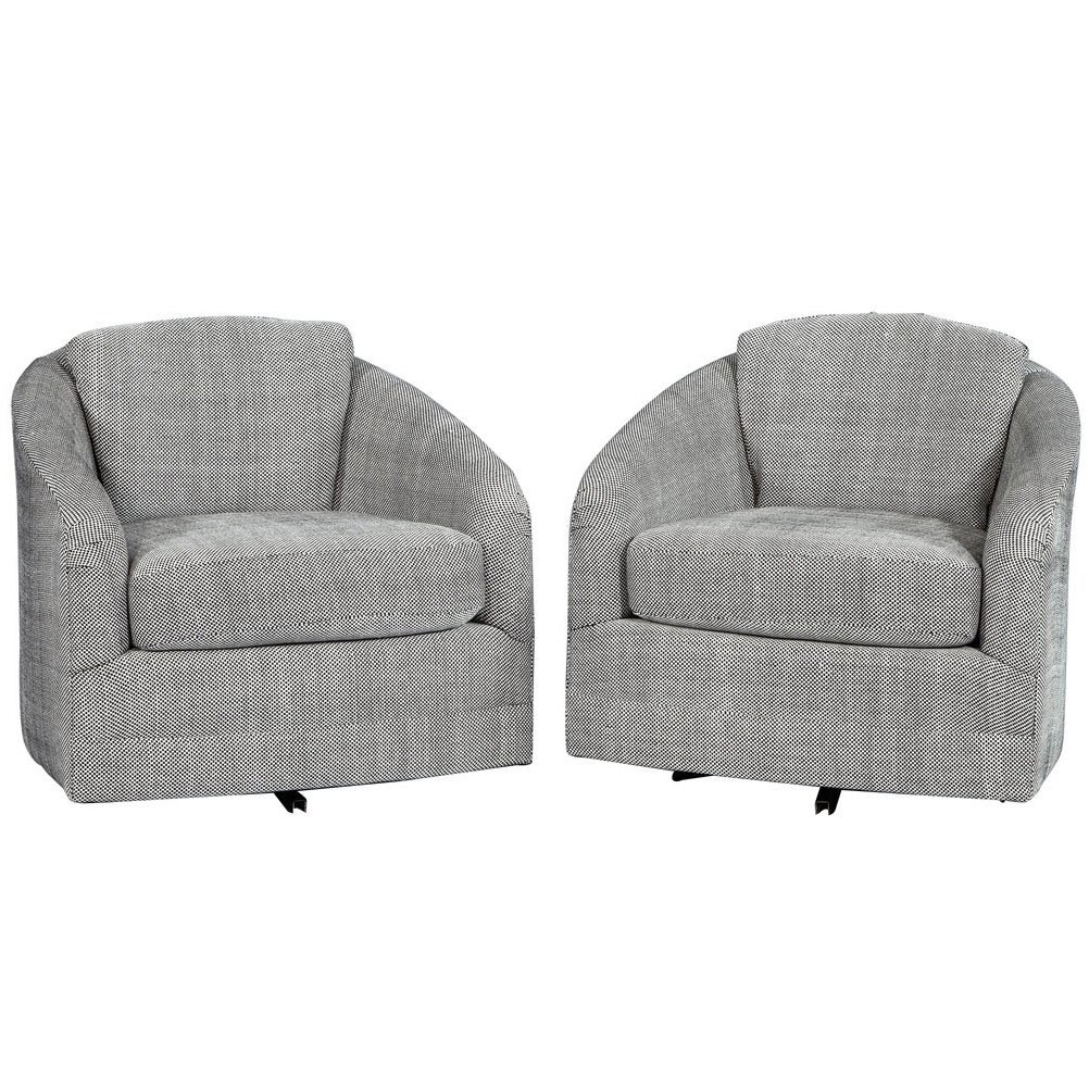 Pair of Grey White Patterned Swivel Lounge Chairs Attributed to Milo Baughman