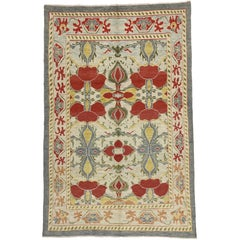 New Colorful Turkish Oushak Rug with Modern Traditional Style