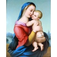 Madonna and Child, Fine Berlin KPM Plaque, Signed A. Deckelmann