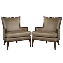 Pair of Carrocel Custom Leather Modern Wingback Armchairs