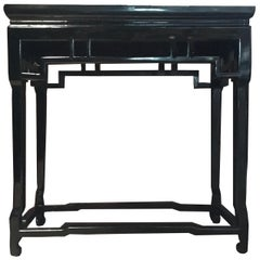 Modern Black Lacquered Wood Rectangular Hand Made Oriental Style Side Table
