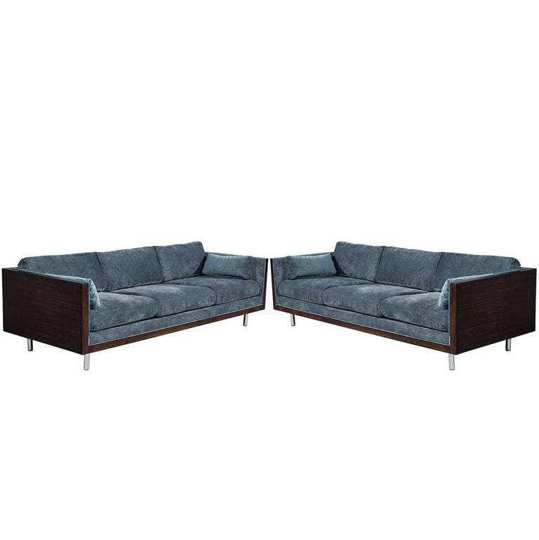 Gorgeous Pair of Milo Baughman Sofas Beautifully Restored by Carrocel