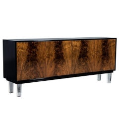 Carrocel Custom Modern Walnut and Acrylic Black Lacquered Sideboard Credenza
